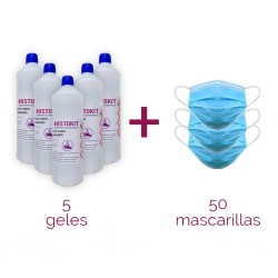 Pack 5 litros hidrogel + 50 mascarillas