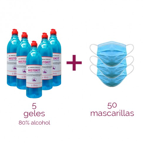 Pack 5 gel 80% alcohol + 50 mascarillas